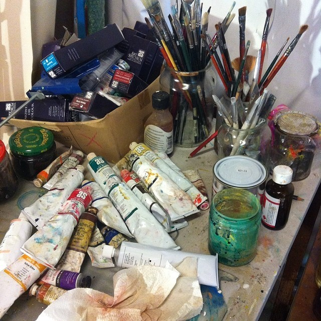 Studio shot of art supplies. You're welcome to come for a studio visit. #studio #painting #australianart #brisbaneart #inthezone