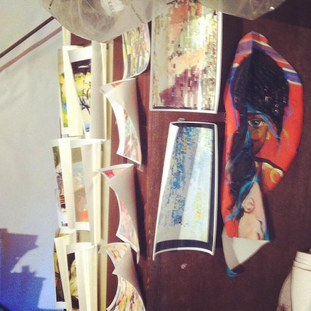 Studio shot with curling photographs. #humidity #openstudio #rain #inspiration